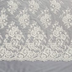 46. Ivory Beaded Embroidered Lace