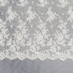 20 - White Embroidered Floral Lace
