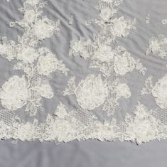 21 - Ivory 3D Embroidered Beaded Lace