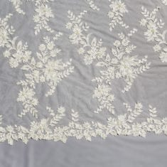 22 Ivory/White Embroidered Beaded Lace