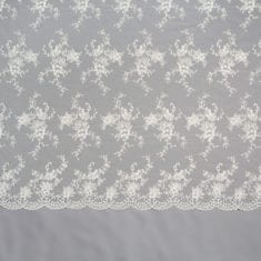 30 - White Beaded Sequinned Lace