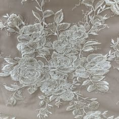Champagne Corded Embroidered Rose